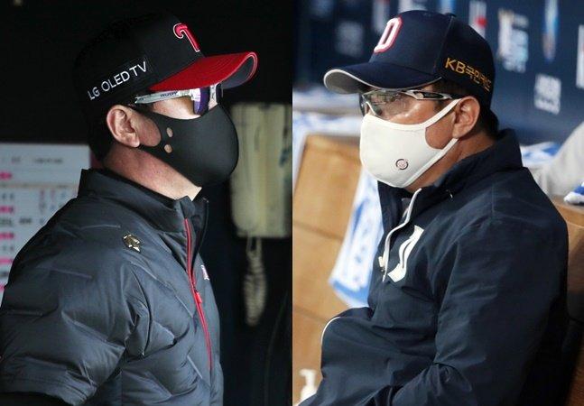 류지현 LG 감독(왼쪽)과 김태형 두산 감독. /사진=뉴스1