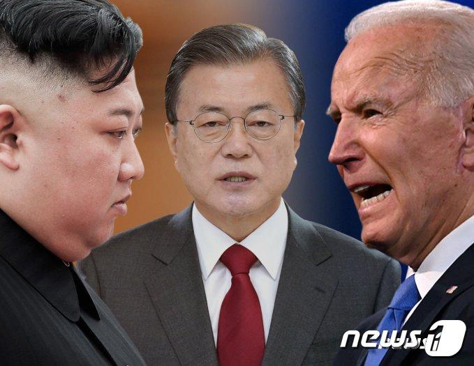 김정은 북한 노동당 총비서, 문재인 대통령, 조 바이든 미국 대통령.© News1 김일환 디자이너