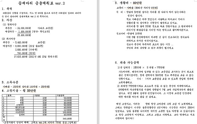2013년 4월 김씨가 아내와 함께 작성한 금융계획표
