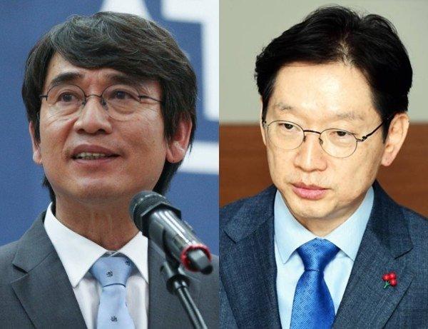 유시민 노무현재단 이사장(왼쪽), 김경수 경남지사./사진제공=뉴스1