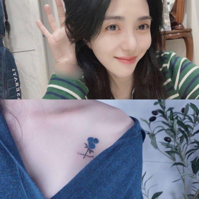 걸 그룹 AOA 출신 권민아가 몸에 새긴 독특한 문신을 공개해 이목을 끌고 있다. /사진=권민아 인스타그램