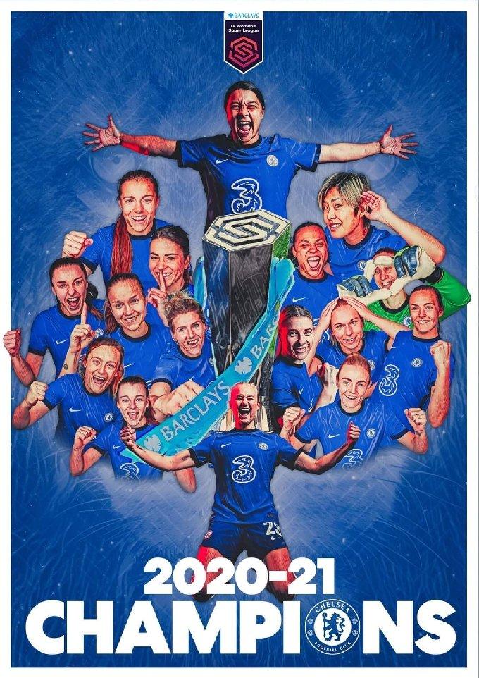 2020-21시즌 리그 우승을 차지한 첼시 위민(첼시 SNS)© 뉴스1