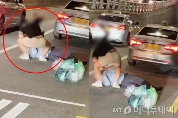 택시기사를 폭행하는 한 남성. /사진=온라인 커뮤니티