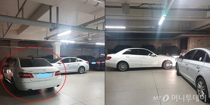 """A씨는 자신의 어머니가 지난 12일 대전 한 아파트 지하주차장에 이중 주차한 벤츠 차주에게 """"차를 빼달라""""고 했다가 폭언을 들었다고 주장했다./사진=온라인 커뮤니티 '보배드림'"""