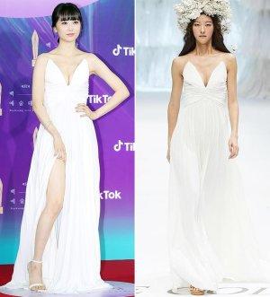 박하선, 가슴선+각선미 드러낸 파격 드레스…'국내 브랜드' 제품?