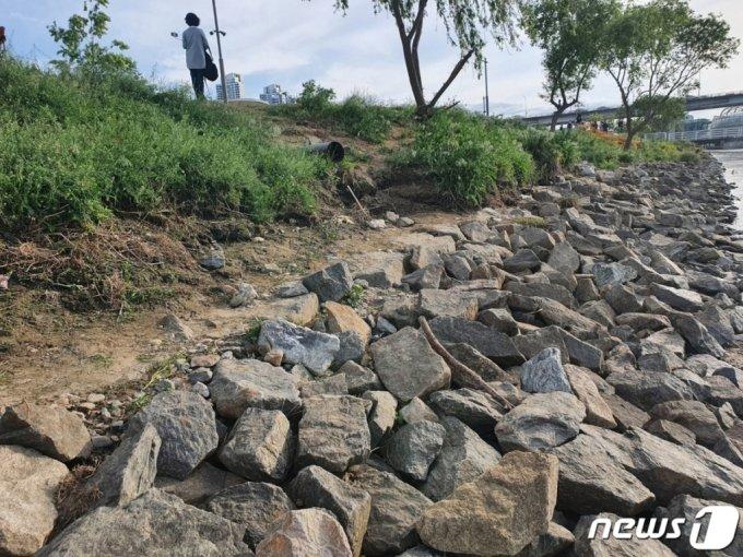 한강공원에서 실종됐다가 숨진 채 발견된 故 손정민씨의 친구 A씨가 지난 4월 25일 새벽 4시20분쯤 혼자 발견된 장소/사진=뉴스1