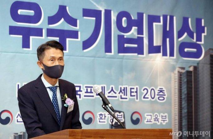 박종면 머니투데이 대표가 18일 오후 서울 중구 프레스센터에서 열린 머니투데이 '제7회 대한민국 우수기업대상' 시상식에서 인사말을 하고 있다. /사진=이기범 기자 leekb@