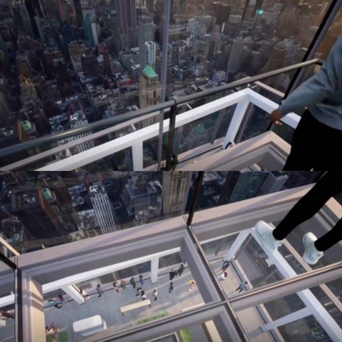 미국 뉴욕 맨해튼에 설치된 투명 엘리베이터. /사진=로이터/뉴시스