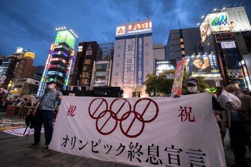 도쿄올림픽 개최를 반대하는 일본 시위대 /사진=AFP