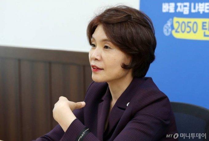 한정애 환경부 장관 인터뷰 /사진=김휘선 기자 hwijpg@