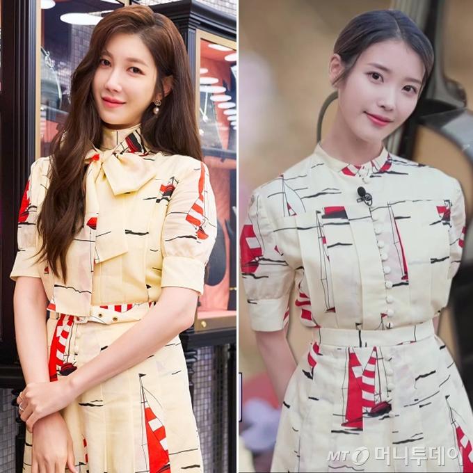 배우 이지아, 아이유 /사진=구찌 제공, tvN '유 퀴즈 온 더 블럭' 방송화면