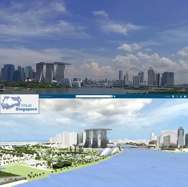 사진 상단은 실제 도시모습, 하단은 버추얼 싱가포르에서 구현한 해당 도시의 가상이미지/자료=버추얼 싱가포르 플랫폼 갭쳐