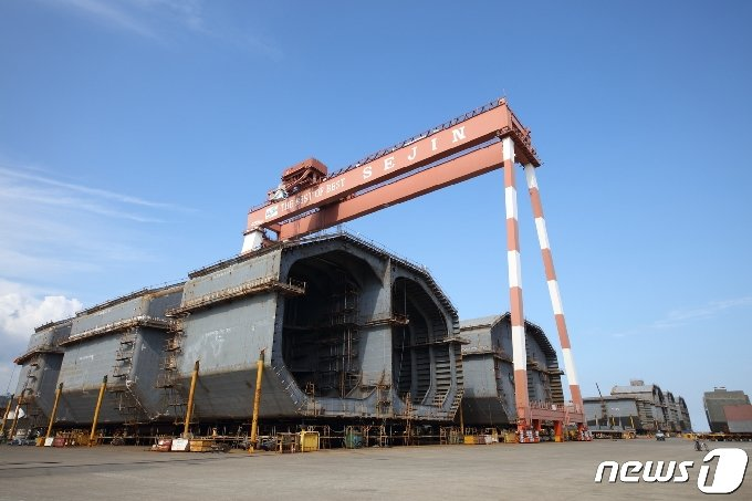 LNG 추진선 등 친환경 선박에 탑재되는 탱크.© 뉴스1