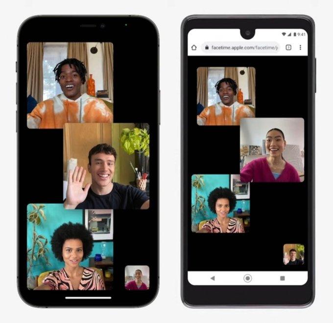 애플이 페이스타임 새 기능을 소개하면서 보여준  아이폰(왼쪽)과 안드로이드폰 모습 /사진=애플
