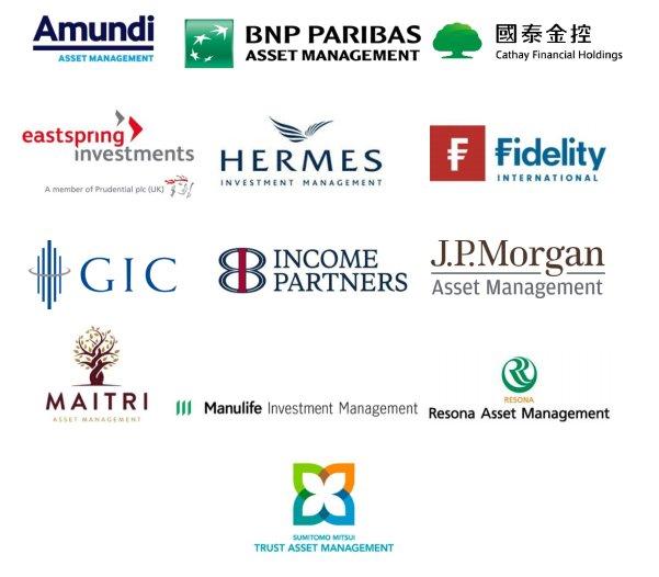 중국, 일본 등 4개국 발전사를 상대로 공동 주주권 행사에 나서기로 나선 13개 AIGCC(기후변화 관련 아시아 투자자 그룹) 회원 기관투자자 로고 모음 / 사진제공=AIGCC