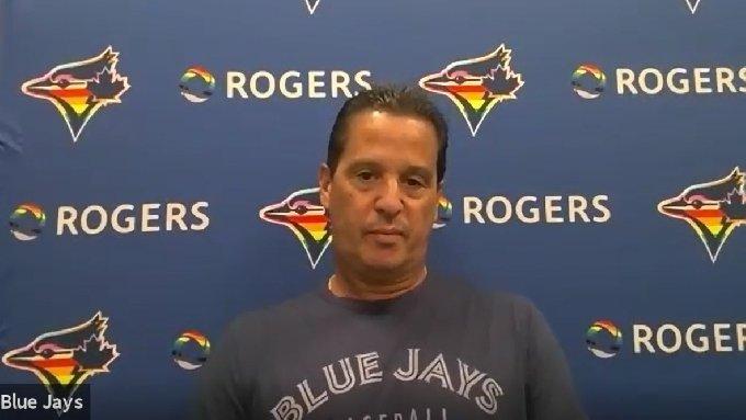 찰리 몬토요 토론토 감독이 경기 전 화상인터뷰를 하고 있다.(토론토 화상인터뷰 캡처)© 뉴스1