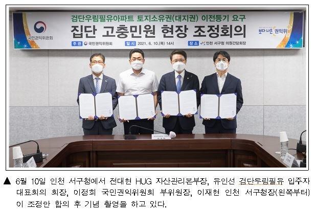 HUG, 인천 검단 우림필유 아파트 토지소유권 이전 조정 합의