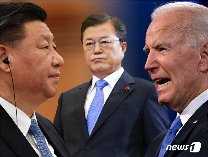 (왼쪽부터) 시진핑 중국 국가주석, 문재인 대통령, 조 바이든 미국 대통령. © News1 김일환 디자이너