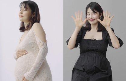 """'만삭' 한지혜, 식단·피부 관리 공개…""""배 튼살 하나도 없어"""""""