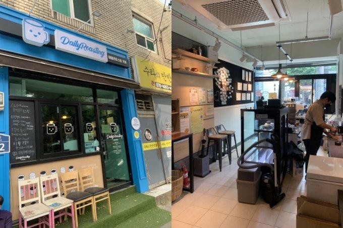 ▲/사진=(왼)금천구 독산3동에 위치한 데일리로스팅 외관, (오른) 협동조합 '원두'의 채석진 이사장이 커피를 만들고 있다.