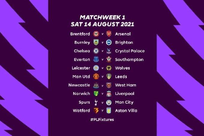 잉글랜드 프리미어리그의 2021-22시즌 개막 라운드 대진.(EPL 홈페이지 캡처) © 뉴스1