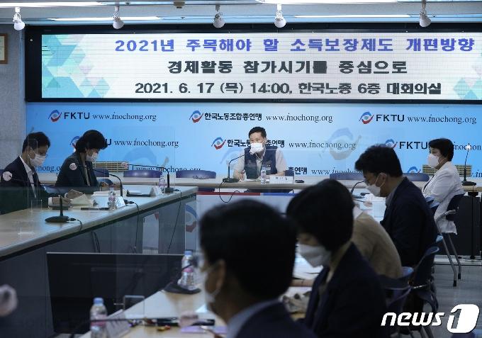 [사진] 인사말하는 박기영 한국노총 사무처장