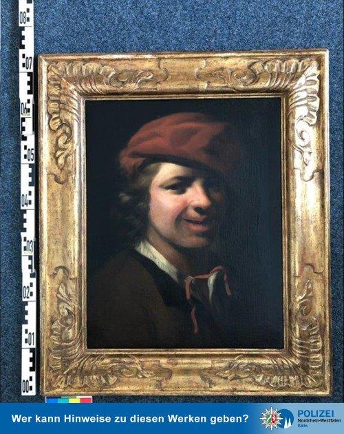지난달 독일 바이에른주 뷔르츠부르크 남쪽 A7 고속도로 노변의 쓰레기통에서 발견된 이탈리아 화가 피에트로 벨로티(1625~1700년)의 작품. /사진=트위터 'polizei_nrw_k' 캡처