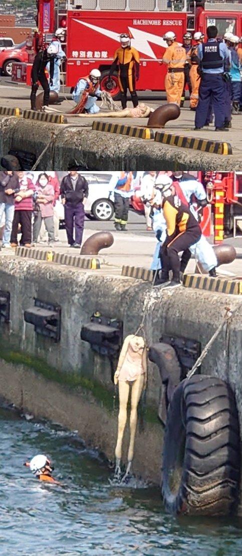 일본 한 부두 앞바다에 떠있는 리얼돌을 여성 시신으로 착각해 소방관과 경찰이 출동하는 일이 발생했다. /사진=트위터 캡처