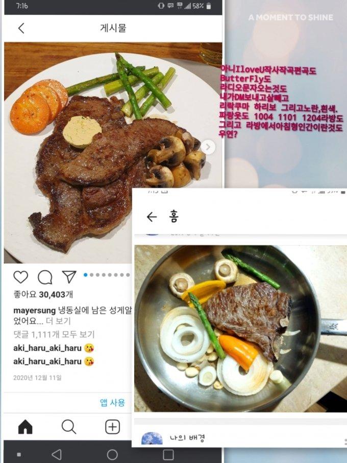가수 성시경에게 가스라이팅을 당하고 있다고 주장하는 누리꾼 A씨가 증거라며 올린 사진 /사진=온라인 커뮤니티 게시판