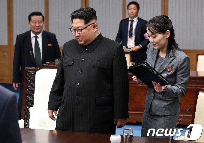 김정은 북한 노동당 총비서와 김여정 노동당 부부장. 2018.4.27/뉴스1 © News1 한국공동사진기자단