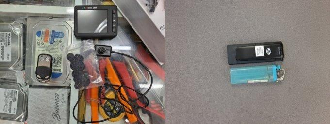 24일 서울 용산구 전자상가에서 매장 주인들이 소개한 초소형카메라. (좌) 단추형, 차키형 카메라. (우) 각도 조절까지 되는 라이터 크기의 카메라. /사진=홍순빈 기자