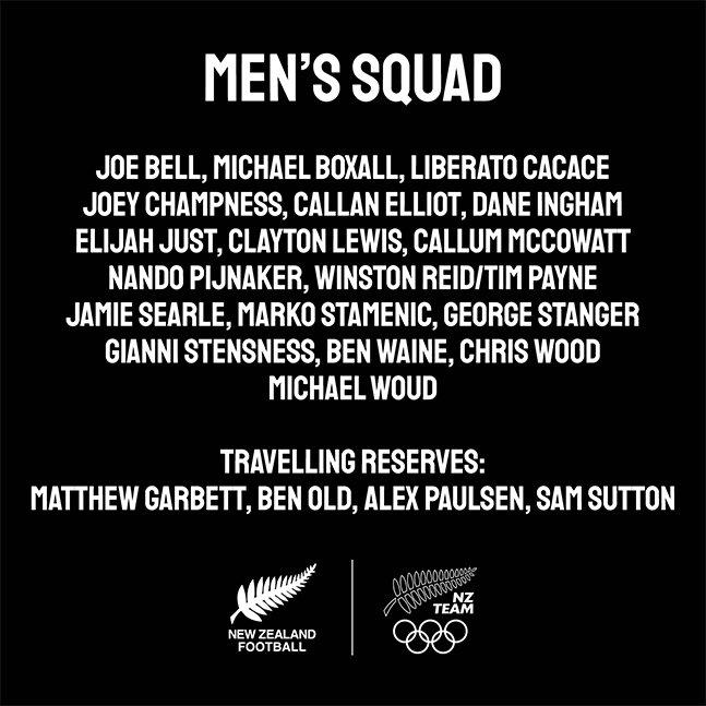 2020 도쿄올림픽 남자축구 뉴질랜드 최종명단. /사진=뉴질랜드축구협회 SNS 캡처
