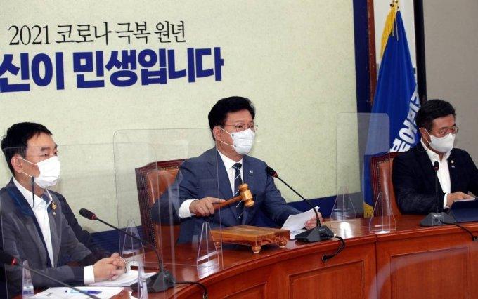 송영길 더불어민주당 대표가 25일 서울 여의도 국회에서 열린 최고위원회의를 주재하고 있다. / 사진제공=뉴시스