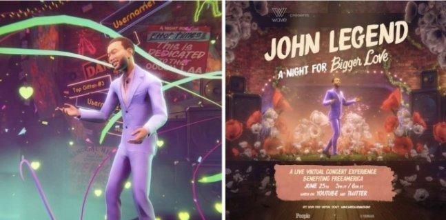 지난해 세계적인 가수 존 레전드가 웨이브를 통해 행사를 진행하고 있다. /사진=웨이브 페이스북 캡처
