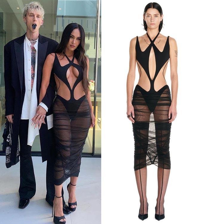 가수 머신 건 켈리, 할리우드 배우 메간 폭스, 뮈글러 쉬어 컷 드레스/사진=메간 폭스 인스타그램, 뮈글러