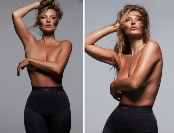 킴 카다시안의 언더웨어 브랜드 '스킴스' 화보를 장식한 모델 케이트 모스 /사진=할리우드 TV스타 킴 카다시안 인스타그램