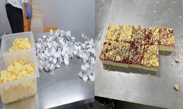 유통기한이 경과한 버터를 기내식용 빵의 원료로 사용할 목적으로 개별포장을 벗겨내 한곳에 모아두고 있다(왼쪽) 유통기한이 경과한 버터를 이용해 기내식용으로 만든 빵(오른쪽)/사진=식약처