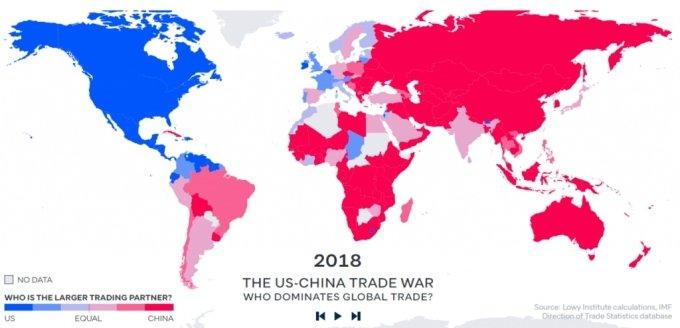 2018년 기준 미국(파란색)과 중국(빨간색)을 최대 교역상대국으로 가진 국가 분류 /사진=비쥬얼 캐피탈리스트 홈페이지
