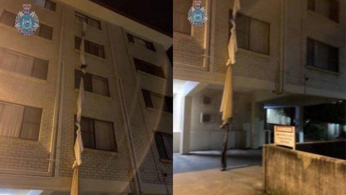 신종 코로나바이러스 감염증(코로나19) 방역 수칙에 따라 호텔에 격리된 한 호주 남성이 침대보를 엮어 창문으로 탈출하는 사건이 발생했다. /사진='웨스턴오스트레일리아주 경찰'(Western Australia Police Force) 페이스북