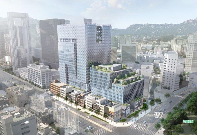공평동 15.16지구에 조성하는 신축 건물 조감도. 해당 건물 지하 1층 전체에 유적 전시관을 조성한다. /사진제공=서울시