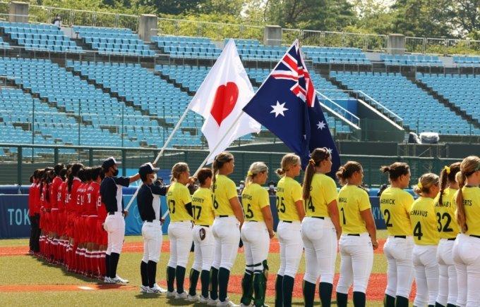 21일 일본 후쿠시마 아즈마 스타디움에서 여자 소프트볼 일본-호주전으로 도쿄올림픽 첫 경기가 시작됐다./사진=로이터통신
