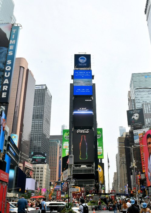 미국 뉴욕 타임스 스퀘어에서 진행 중인 옥외광고 /사진=삼성전자