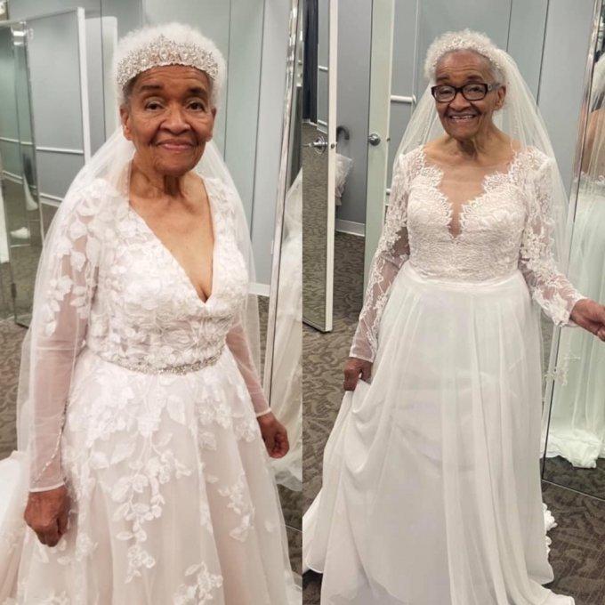 70년 만에 처음으로 웨딩드레스를 입게 된 94세 할머니의 사연이 알려지며 화제가 되고 있다. /사진=에리카 터커 페이스북 갈무리