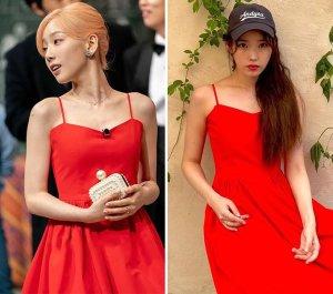 태연 vs 아이유, 새빨간 캐미솔 원피스 패션…같은 옷 다른 느낌