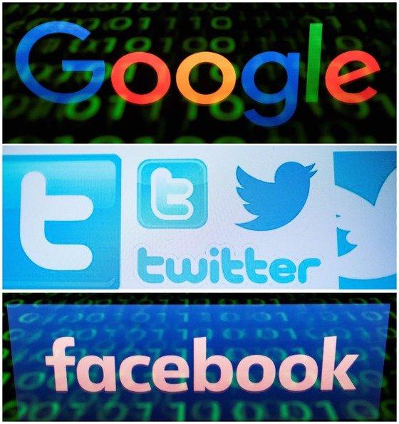 구글과 트위터, 페이스북의 로고