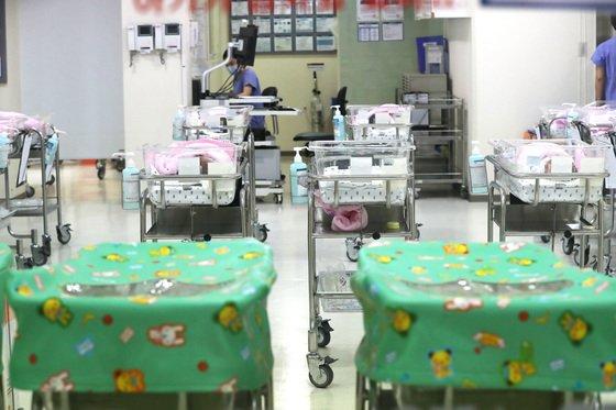 서울 시내의 한 병원 신생아실의 빈 아기침대. /사진=뉴스1