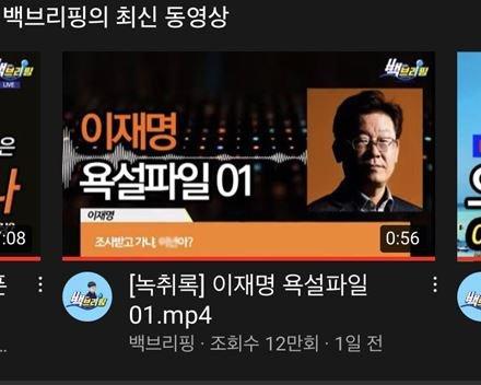 유튜브 측이 법원명령으로 차단조치 하기 전 게시됐던 이재명 경기지사 관련 영상./사진= 유튜브 백브리핑 채널 캡쳐