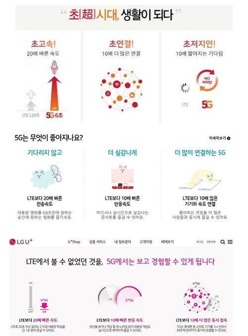 5G 상용화 초반 이통3사의 광고 문구. /사진=각 통신사 홈페이지