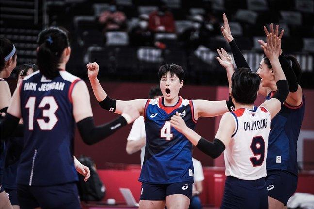 김희진(가운데)이 득점 후 기뻐하고 있다./사진=FIVB