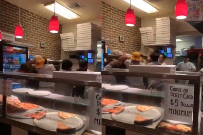 미국의 한 피자 가게에서 손님과 직원 간의 집단 몸싸움이 벌어졌다. /사진=레딧(Reddit) 영상 캡처